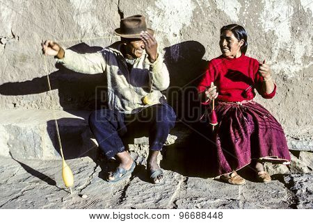 Couple Has Fun Doing Knitting Together At Island Of Taquile