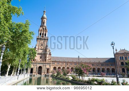West Side Of Spain Square In Seville