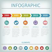 Timeline infographic vector design template. Flat icons on colored basis. poster