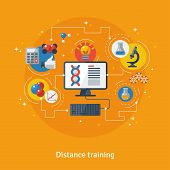Concept for Distance Education, Online Learning. Vector illustration. Online training courses, distance training, e-learning. Flat icons of chemistry, microscope, pc, idea sign with connection lines poster