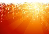 Abstract red golden background with sparkling stars for festive occasions. Great as Christmas background. poster