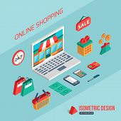 E-commerce and online shopping. Flat 3d isometric design. Infographic concept with place for text. Vector illustration. poster