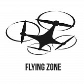 flying quadcopter drone logo, isolated vector illustration poster