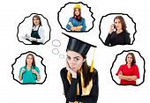 Graduated student in uniform thinking of future career options. Woman looking worried contemplating at thought bubbles on isolated backgroung with images of different professions poster