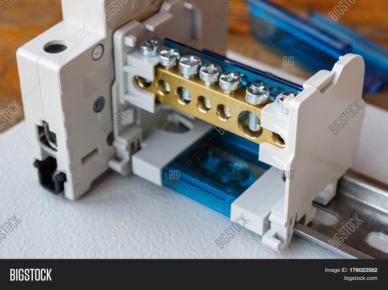 Wire Terminal Block Image Photo Free Trial Bigstock Phone Wiring And Circuit Breaker On The Din Rail
