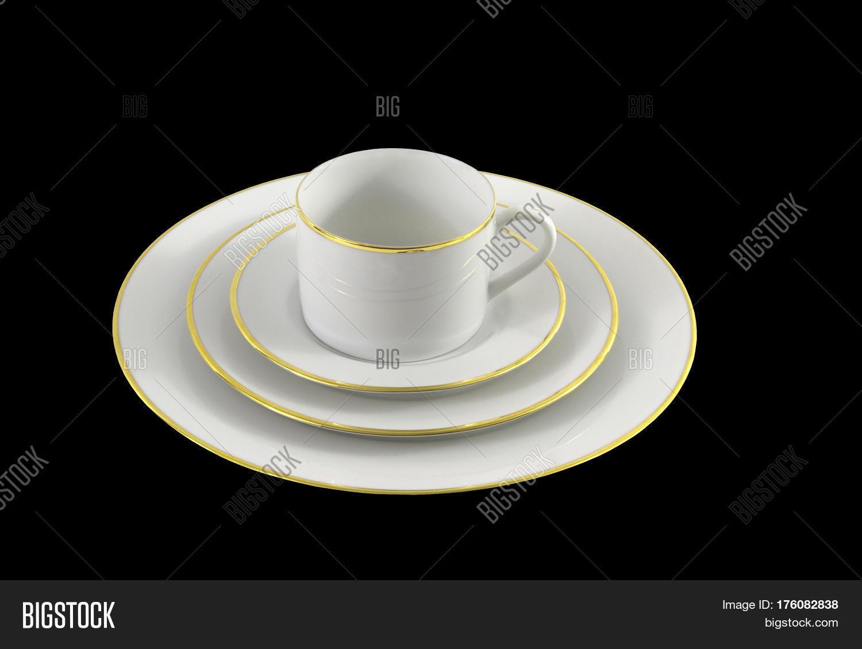 Set of white dinnerware with gold trim on a black background & Set White Dinnerware Gold Trim On Image u0026 Photo | Bigstock