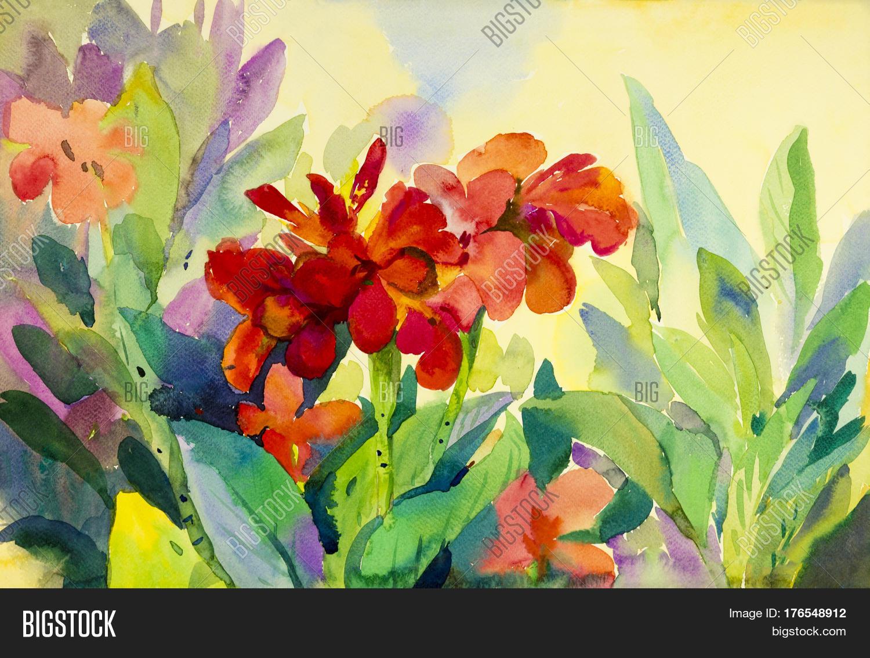 Watercolor Flowers Original Image & Photo | Bigstock