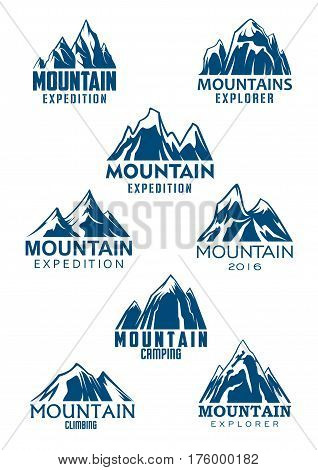 Climbing or mountain hiking sport vector icons for mountaineering adventure trip or Alpine explorer expedition and camping tourism. Emblems set of blue Alp rocks or mount and snow peaks
