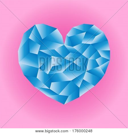 Polygonal blue heart vector illustration. Heart icon on pink background square image. Valentine Day card or banner template. Low Poly Heart with shiny diamond effect. Love and romance isolated symbol