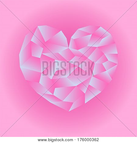 Polygonal pink heart vector illustration. Heart icon on pink background square image. Valentine Day card or banner template. Low Poly Heart with shiny diamond effect. Love and romance isolated symbol