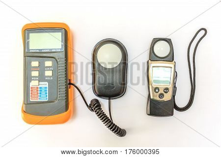 Lux meter for measuring light intensity isolated on white background