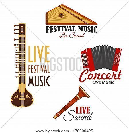 Live music concert or festival vector icons. Set of musical instruments emblems of gusli harp and flute pipe, accordion or bayan harmonic, lute or biwa or koto