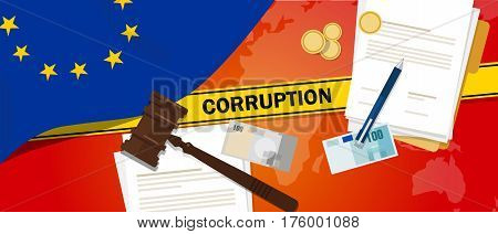 Europe corruption money bribery financial law contract police line for a case scandal government official vector