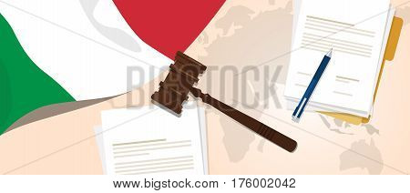 Italy law constitution legal judgment justice legislation trial concept using flag gavel paper and pen vector