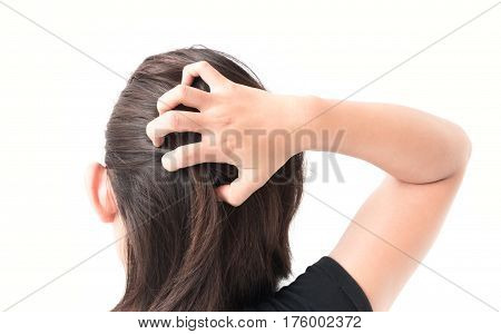 Closeup woman hand itchy scalp Hair care concept