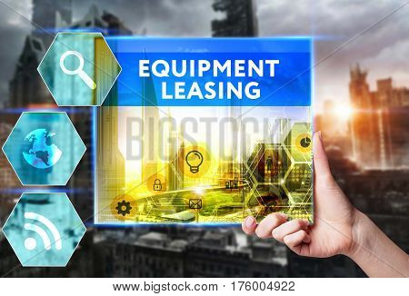 Technology, Internet, Business And Marketing. Young Business Woman Writing Word: Equipment Leasing