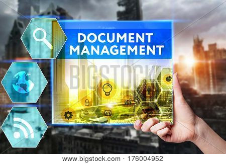 Technology, Internet, Business And Marketing. Young Business Woman Writing Word: Document Management