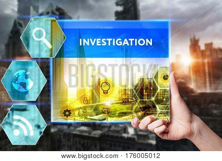 Technology, Internet, Business And Marketing. Young Business Woman Writing Word: Investigation