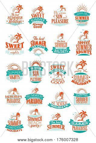 Summer holidays icons set. Sea holiday vacations or travel adventure symbols of sun and sand beach paradise, ocean waves with palms and sunset for relax resort and rest pleasure
