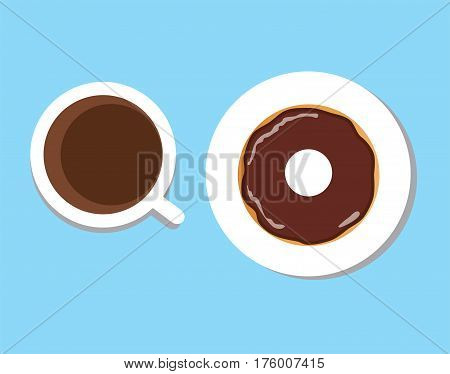 vector illustration of coffee cup with donut coffee break breakfast meal fast food snack on plate isolated on white background