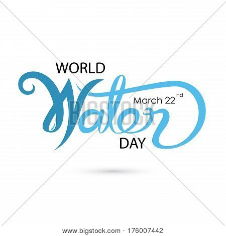 Blue World Water Day Typographical Design Elements.World Water Day icon. Minimalistic design for World Water Day concept. Vector illustration