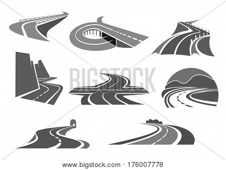 Highways and motorway roads vector icons. Symbols for express way building or construction company or transportation safety and repair service, travel agency or traffic technology and tourism agency
