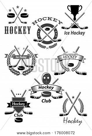 Ice hockey vector icons or championship award emblems for game tournament. Symbols of hockey puck, stick and goalkeeper mask, winner cup and victory laurel wreath for team contest ribbons and stars poster