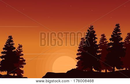 Spruce scenery silhouettes collection stock vector art