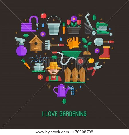 I love gardening card with landscaping and horticulture icons stylized in heart. Growing plants and spring elements backdrop with gardener, grass-cutter, wheelbarrow and other farm and garden tools.