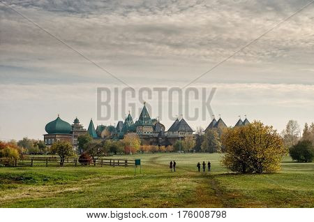 A wooden residence of Russian Tsars in Kolomenskoye, Moscow, Russia in autumn