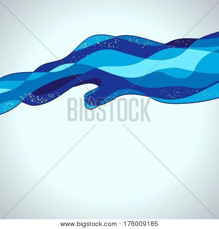Abstract Background of Blue Water Lines Waves with Bubbles Froth, Design Illustration.