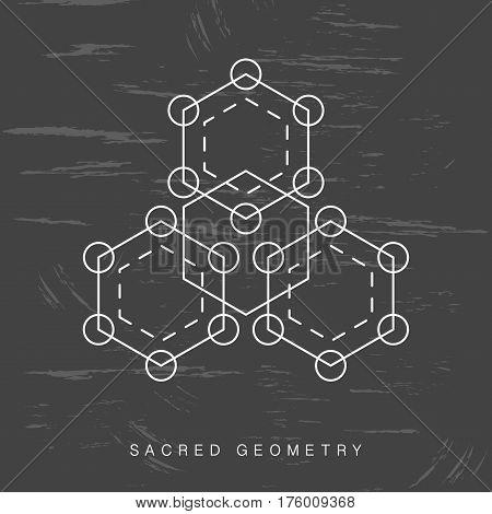 Sacred geometry sign on black grunge background. Linear Modern Art. Hipster alchemy esoteric symbol, logotype. Vector illustration