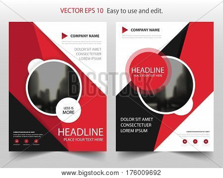Red black circle Vector Brochure annual report Leaflet Flyer template design book cover layout design abstract business presentation template a4 size design