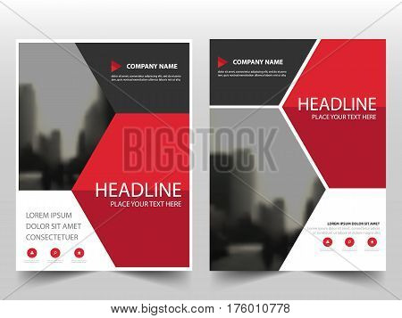 Red Hexagon Vector annual report Leaflet Brochure Flyer template design book cover layout design abstract business presentation template a4 size design