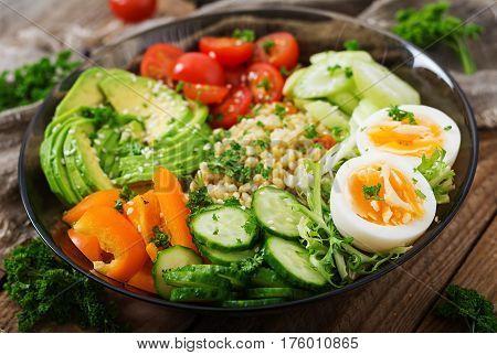 Diet Menu. Healthy Lifestyle. Bulgur Porridge, Egg And Fresh Vegetables - Tomatoes, Cucumber, Celery