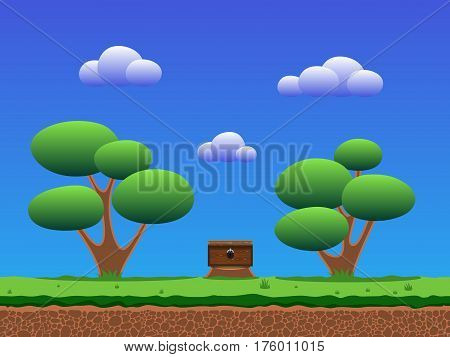 Trees on a meadow with grass, coffer on a stump. Sky and clouds. Seamless game background.