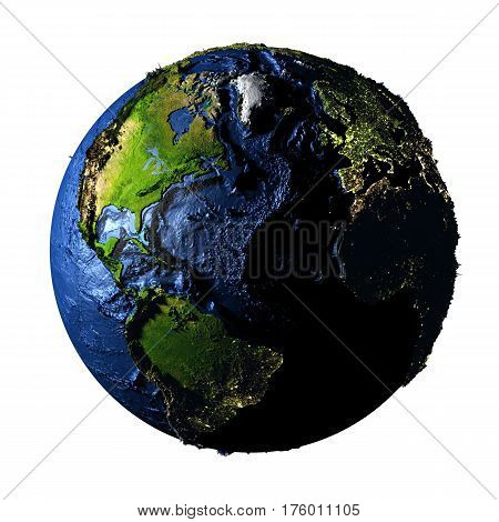Northern Hemisphere On Earth Isolated On White