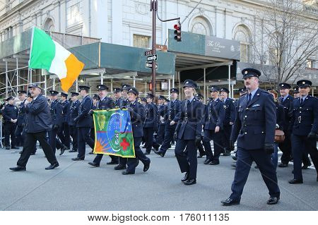 NEW YORK - MARCH 17, 2016: Irish military personnel marching at the St. Patrick's Day Parade in New York.