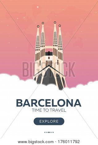 Spain. Barcelona. Time To Travel. Travel Poster. Vector Flat Illustration.