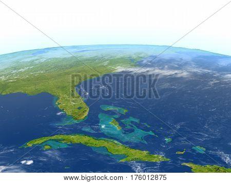 East Coast Of Usa On Planet Earth