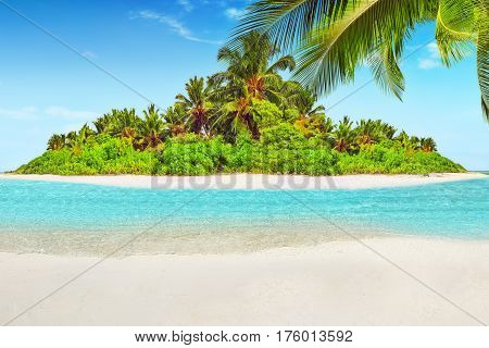 Whole Tropical Island Within Atoll In Indian Ocean And Blank  Sand On A Tropical Island.