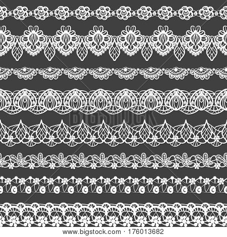 Vector set of seamless borders. Black and white lace pattern for design and fashion. Flowers and leaves motifs. Ethnic indian ornament