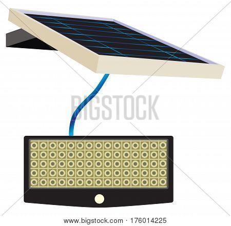 Vector illustration. Solar Motion LED Flood Light.