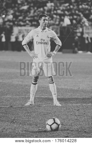 VILLARREAL, SPAIN - FEBRUARY 26: 7 Cristiano Ronaldo during La Liga match between Villarreal CF and Real Madrid at Estadio de la Ceramica on February 26, 2017 in Villarreal, Spain