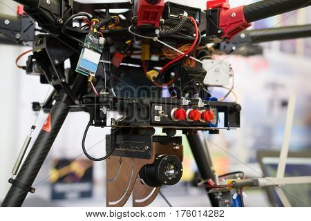 Military Army thermal imager on helicopter drones, close up view, close up, horizontal