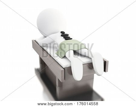 3d ilustration. White people relax on spa with hot stones on body. Beauty Treatments concept. Isolated white background