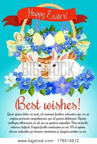 Happy Easter poster of eggs and spring flowers bunch in wicker basket. Paschal bunny for Easter hunt design, crocuses, daffodils lily and ribbon. Vector greeting card wishes for religion holiday