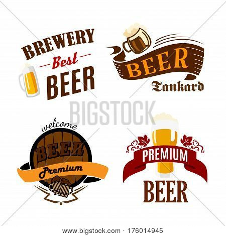 Beer pub, bar and brewery icons. Vector isolated symbols of ale mug and frothy beer glass, wood barrel of lager and draught alcohol drink for premium brewpub or brewery company sign and beer festival
