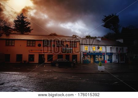 Deep night in a small town street of County Galway Ireland