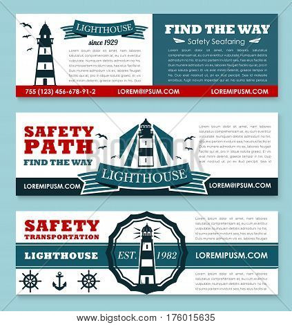 Safety seafaring banners with lighthouse or ship path beacon and marine symbols of anchor and helm. Vector templates set for safety sea and ocean nautical transportation company